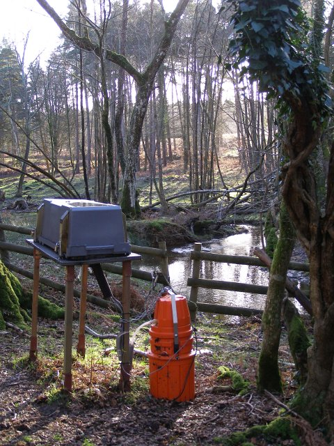 Monitoring equipment next to Highland Water, New Forest