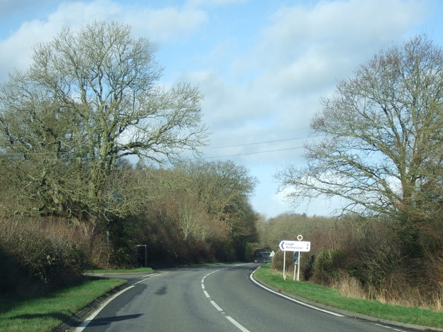 The turning to Leigh on the A352 near Holnest