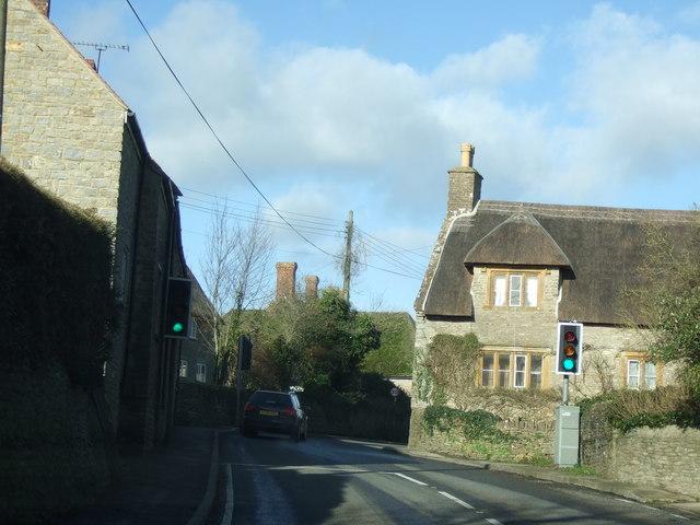 Longburton traffic lights on the narrow bend