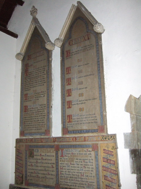 Decalogue boards, St Andrew's Church, Coryton