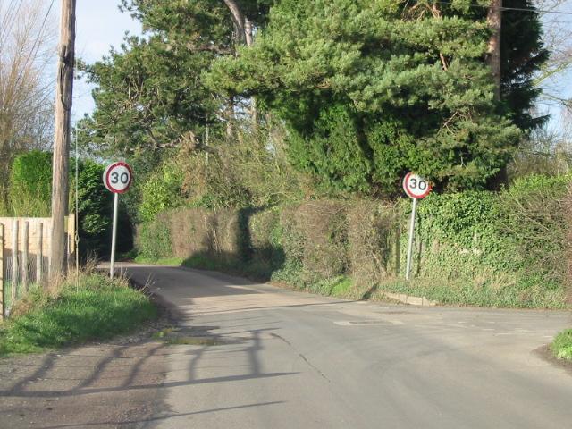 Entering Ickham from Wingham Road, Baye Lane on right