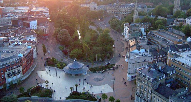 View from the balloon, facing Town Centre and Upper Pleasure Gardens