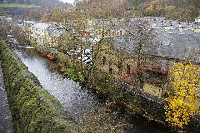 Hebden Water and rear of properties along Valley Road, Hebden Bridge