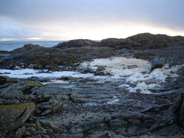 Foam on the rocks at Urvaig