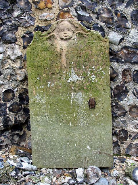 St Botolph, Hevingham, Norfolk - Bat on tombstone
