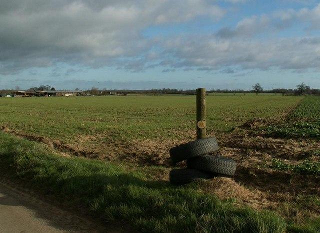 Footpath over huge fields on arable farmland