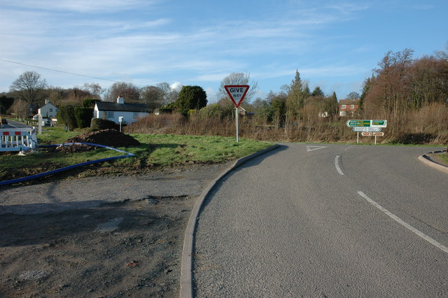 Road junction at Whitehill, Weobley