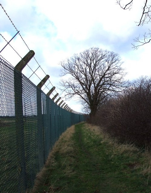 Public footpath & chainlink fence