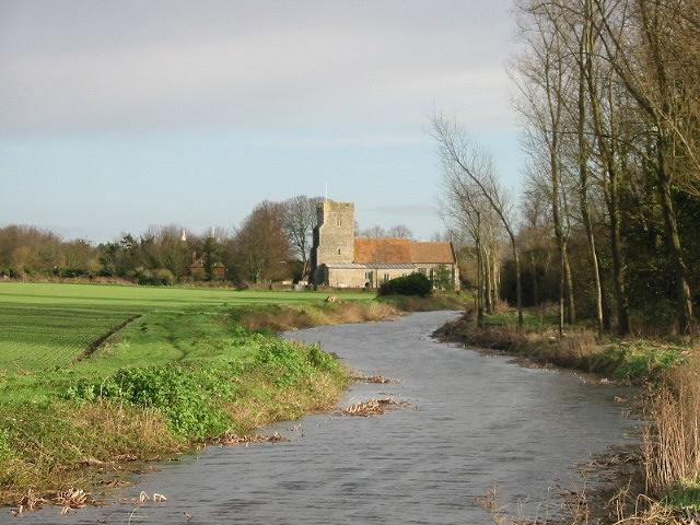 View along Little Stour to Wickhambreaux Church.