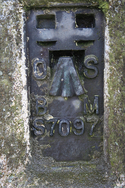 """The OS official stamp and """"crow's Foot"""" at Allans Hill."""