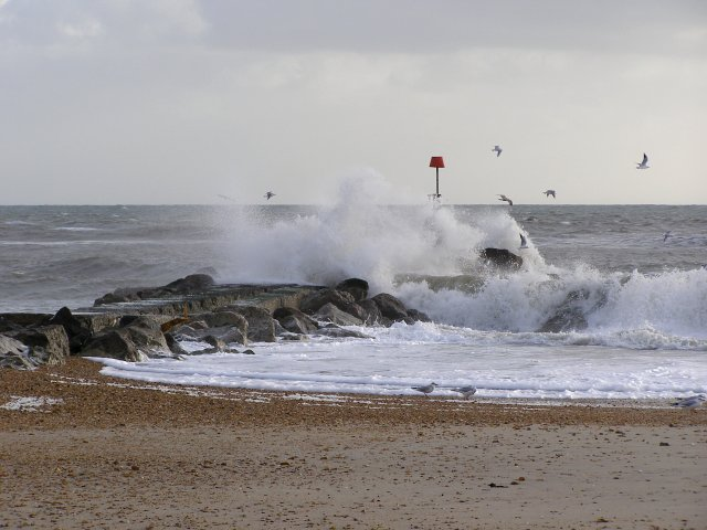 Waves breaking on the long groyne, Hengistbury Head