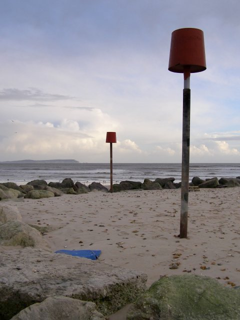 Navigation markers on the end of Mudeford Spit