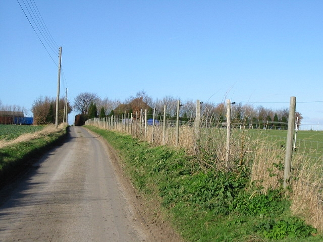 Looking NW along road from Britton Farm.