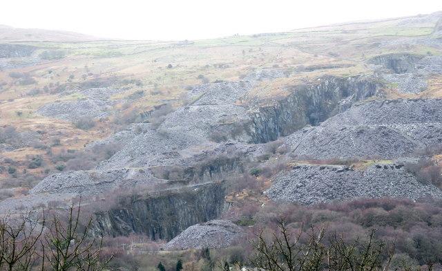 The Glynrhonwy Quarries from Fachwen