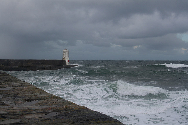 Rosehearty harbour in a biting northerly wind.