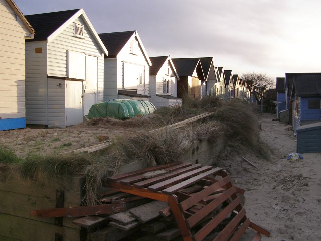 Between the beach huts, Mudeford Spit