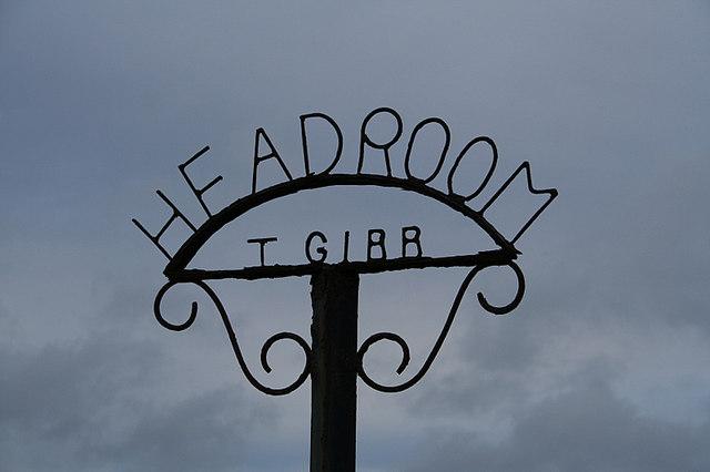 Roadside sign for Headroom Farm.