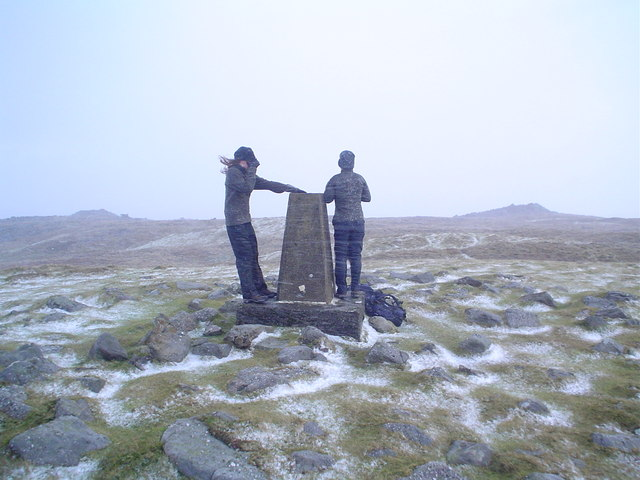 Garn Felen summit trig point in hailstorm