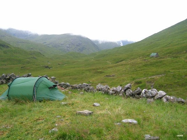 Camban sheepfold with bothy in the background