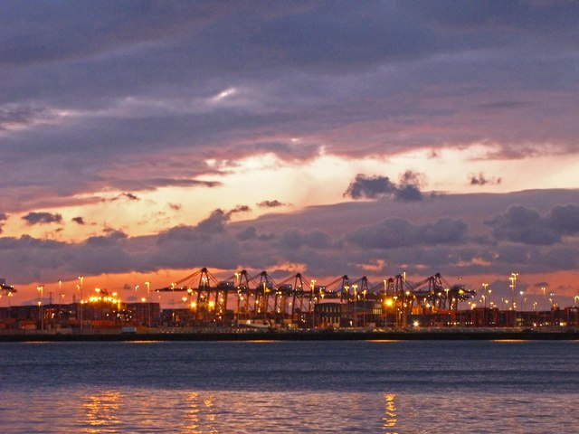 Container terminal Southampton after sunset