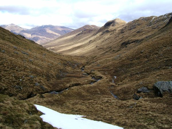 Late patches of snow in upper Glen Cuirnean