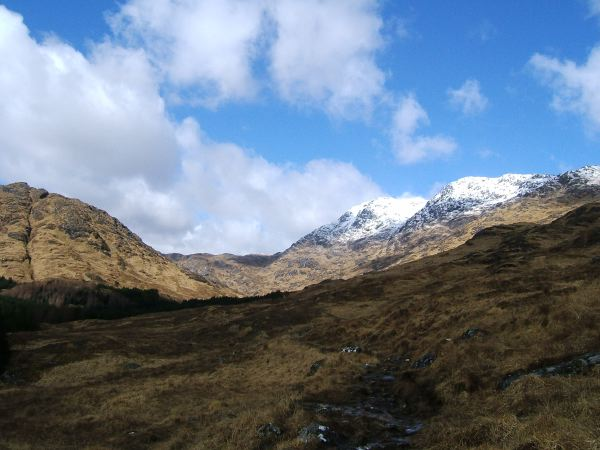 Looking up towards Garbh Chioch Mhor and Bheag