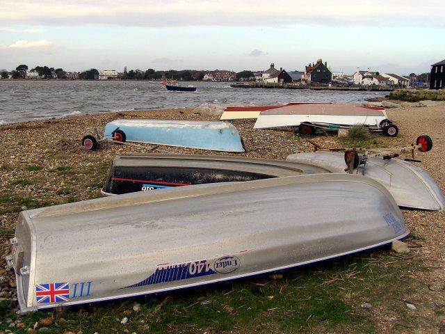 Upturned boats on Mudeford Spit