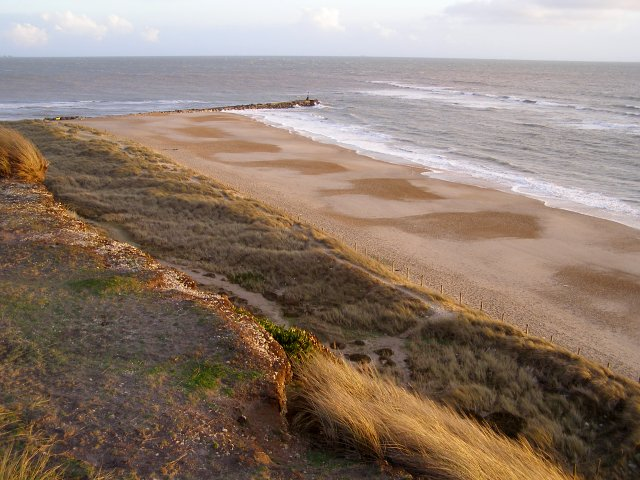 Beach and long groyne at Hengistbury Head