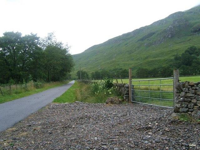Fenced meadow at Cragag in Glen Elchaig
