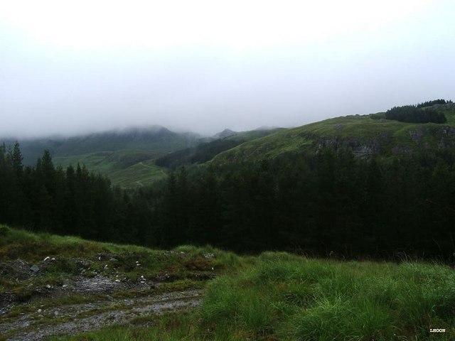 The misty surroundings of Loch an Iasaich
