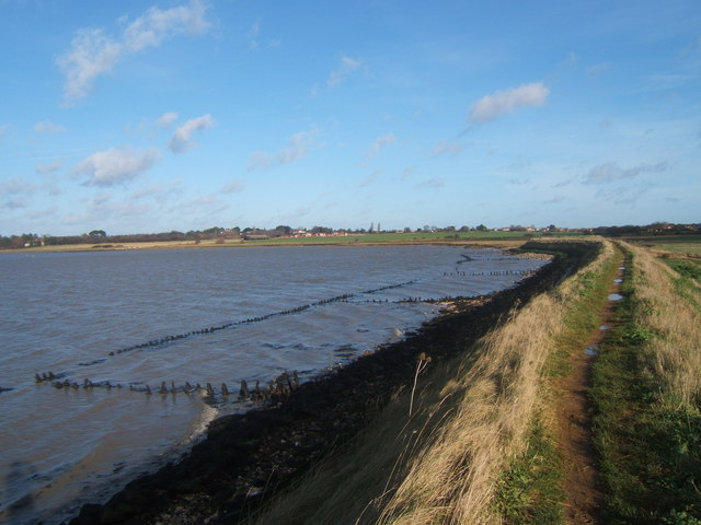Aldeburgh Marsh dyke and the River Alde near Stanny Point