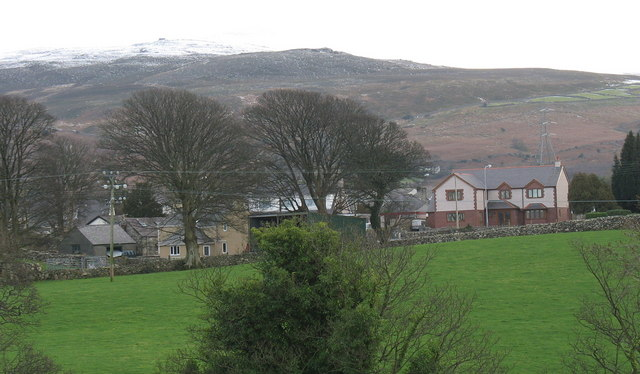Modern detached houses on the northern outskirts of Llanrug