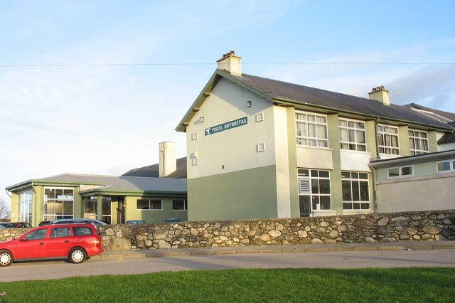 The front entrance to Ysgol Brynrefail