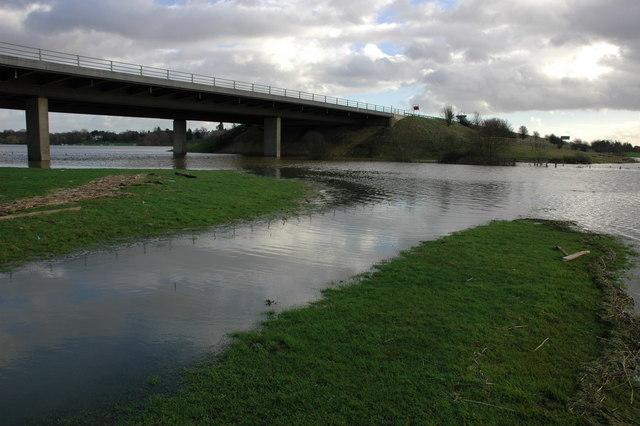 The M5 motorway across Twyning Meadow