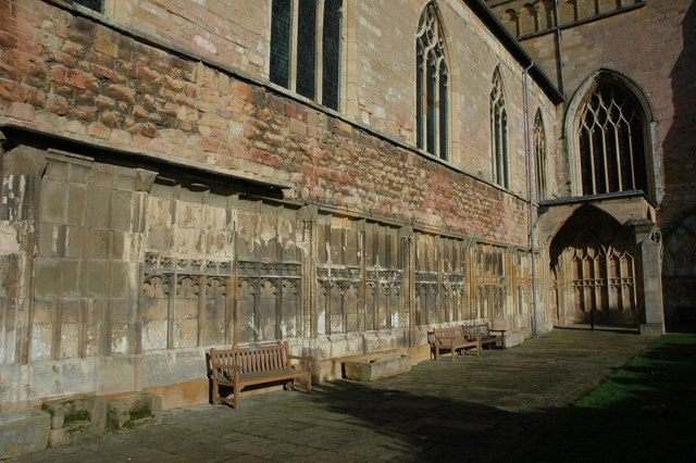 The remains of the cloisters at Tewkesbury Abbey