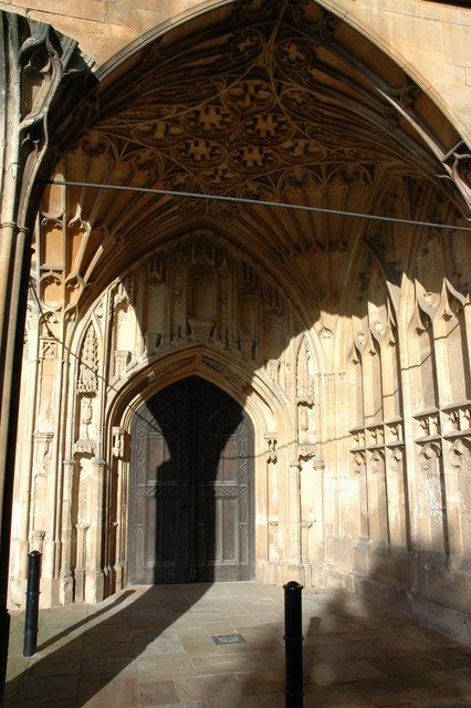 Door to the former cloisters, Tewkesbury Abbey