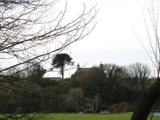 Glanrafon Farmhouse viewed from across the Seiont