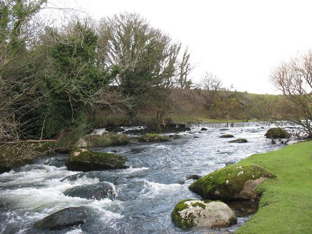 Looking upstream towards the Glanrafon weir