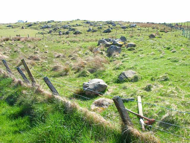A very rocky field near The May above Mochrum Loch