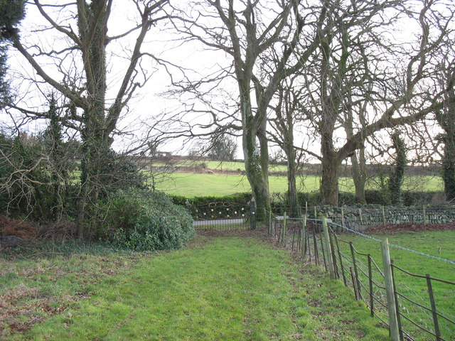 The front drive and gate of the old manor house at Llwyn y Brain
