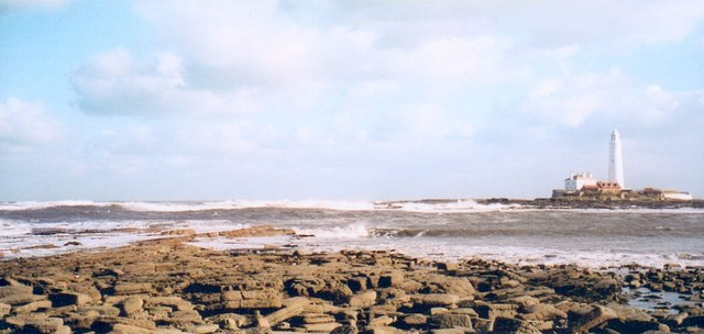 Rocky foreshore and St Mary's Island