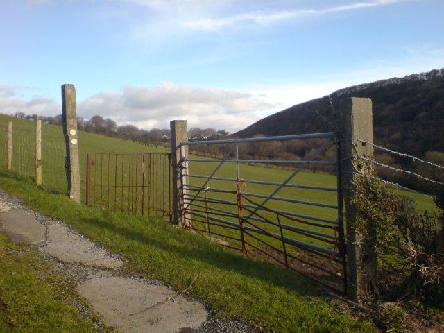 A kissing gate on St. Illtyd's Walk
