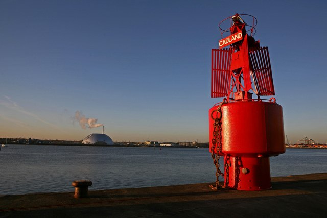 Marchwood Incinerator and freshly repaired buoy
