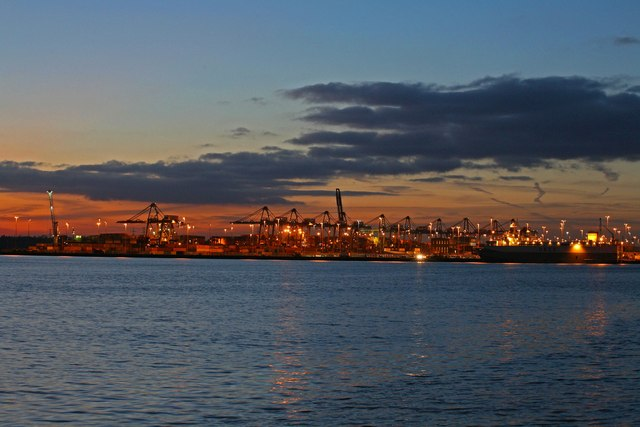 Prince Charles Container Port at sunset