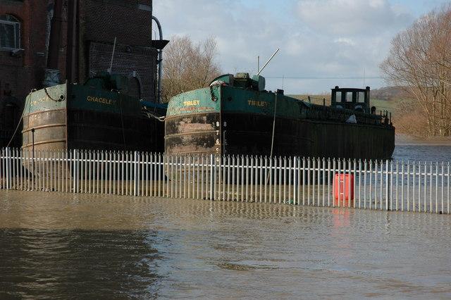 Grain barges moored at Healing's Mill, Tewkesbury
