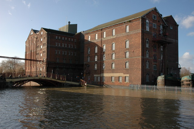 Healing's Mill surrounded by floodwater