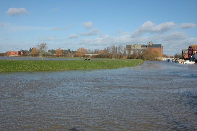 A flooded Mill Avon at Tewkesbury