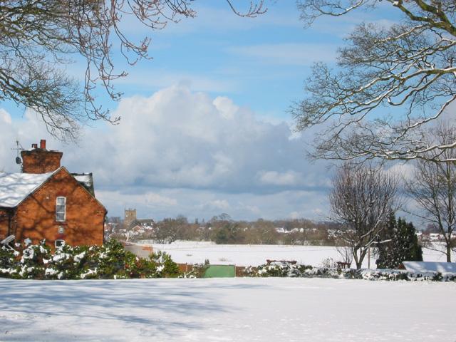 View towards Wrenbury in the snow