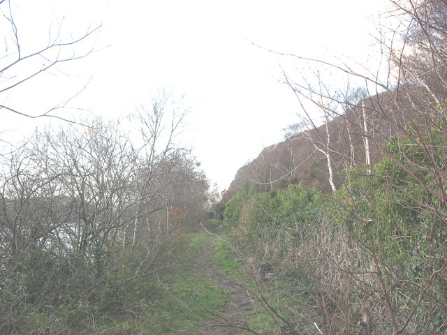 Trackbed of the former Padarn Railway south of the old Penllyn railway crossing