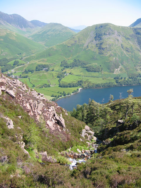 View down Sour Milk Gill towards Robinson
